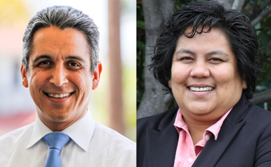 San Diego City Council District 9 candidates Ricardo Flores and Georgette Gomez.