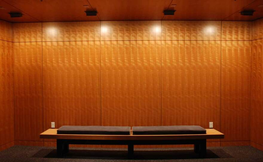 An empty lobby bench awaits theatergoers in The Old Globe's Viterbi Family Lobby, in an undated photo.