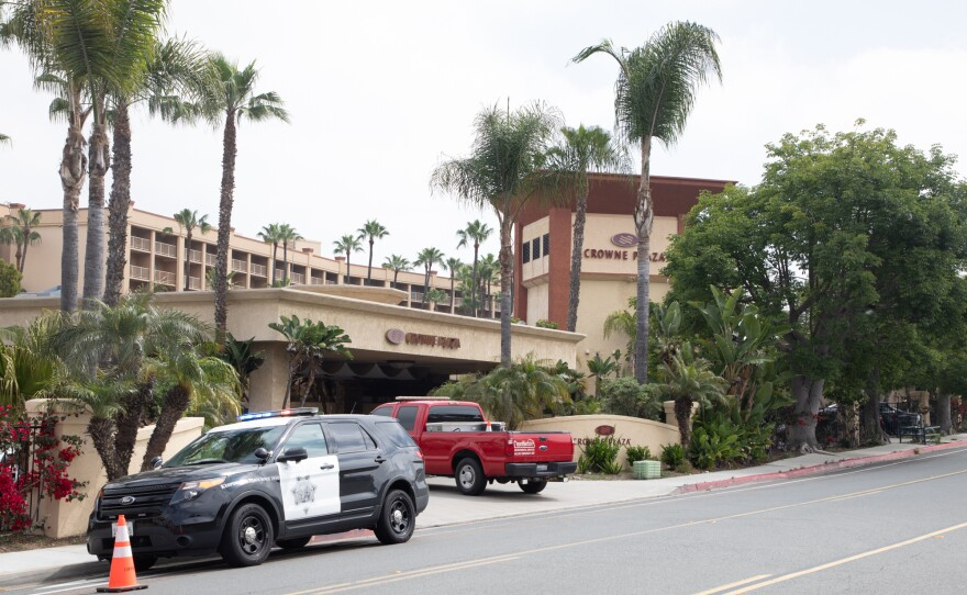 The Crowne Plaza hotel in Mission Valley, which the county is using as an isolation center for people with COVID-19 symptoms who have no other place to go, is shown on May 1, 2020.