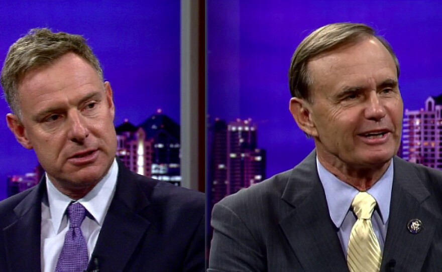 Democrat Scott Peters and Republican Brian Bilbray, the two candidates for the 52nd Congressional District.