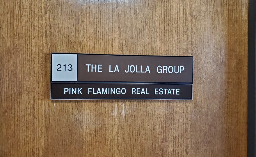 The office door of the La Jolla Group, a petition drive management firm, Feb. 4, 2020.