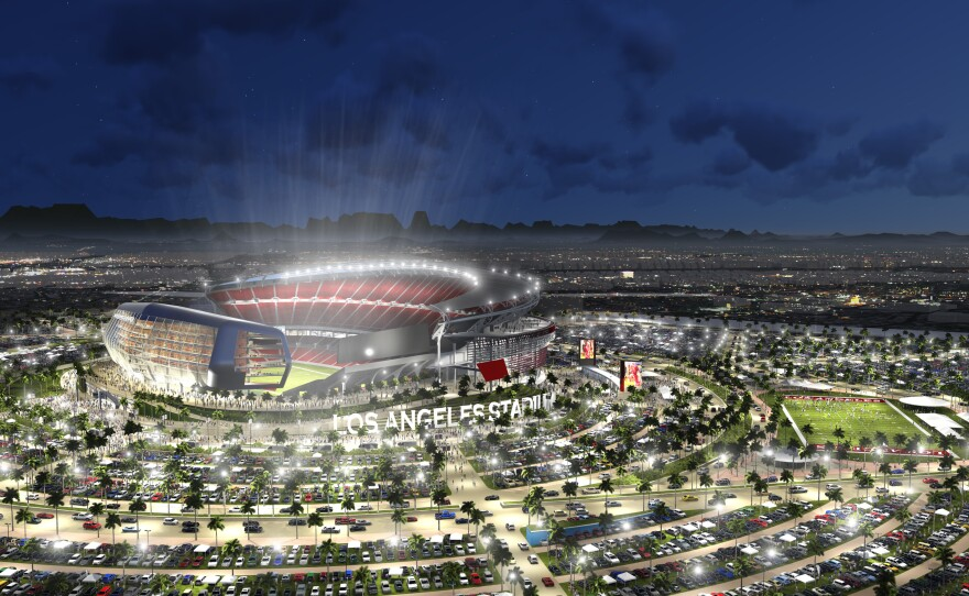 An undated artist rendering provided by MANICA Architecture shows a proposed $1.7 billion NFL stadium in the city of Carson that the San Diego Chargers and Oakland Raiders would share if both teams fail to get new deals in their current hometowns.