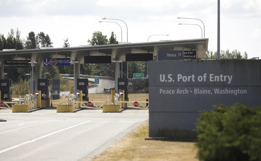 A U.S. port of entry in Blaine, Wash., at the U.S.-Canada border, is seen on Aug. 9.