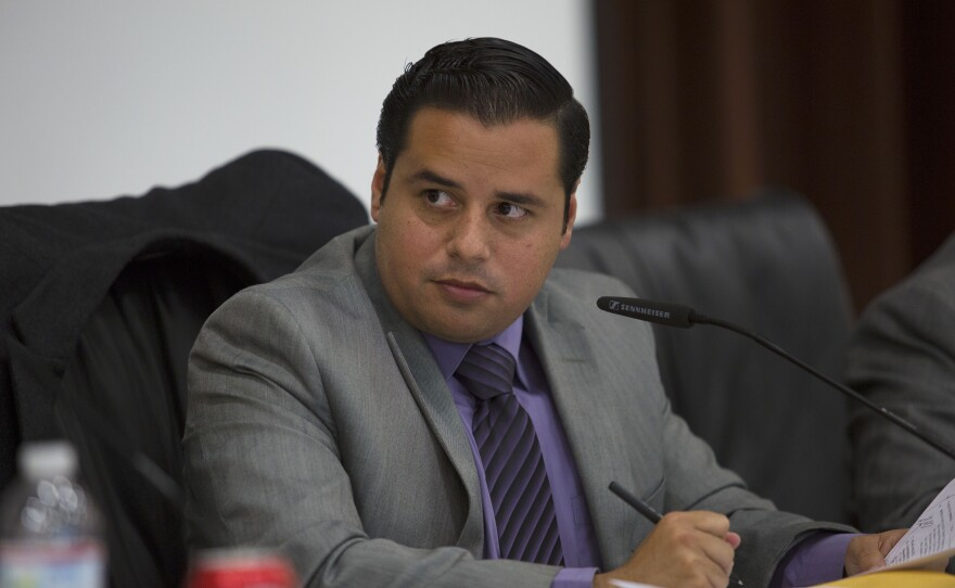 Antonio Martinez presides over a San Ysidro Board Meeting on Sept. 14, 2015. Elected in 2012, he's the longest serving member of the current board.