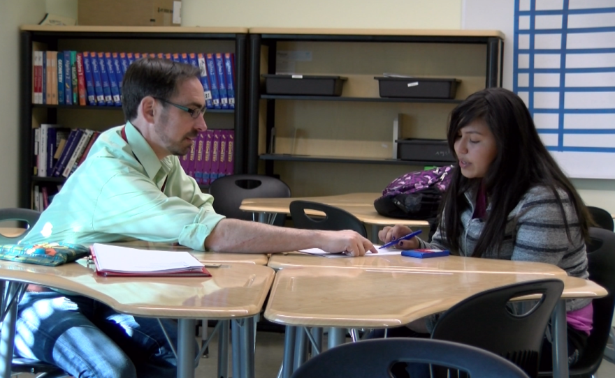 San Diego State assistant professor and researcher Bill Zahner goes over a math problem with Hoover High School student Natalie Lopez, Jan. 30, 2017. Lopez is not an English learner.