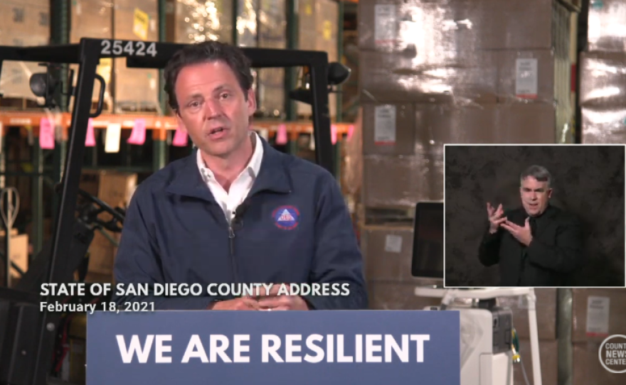 """San Diego County Supervisor Nathan Fletcher delivers his first """"state of the county"""" address, Feb. 18, 2021."""
