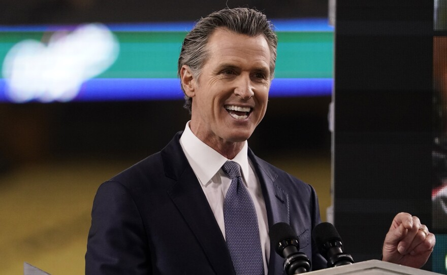 In this Tuesday, March 9, 2021, file photo, California Gov. Gavin Newsom delivers his State of the State address from Dodger Stadium in Los Angeles.