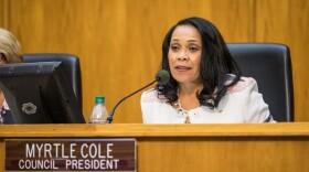 City Councilwoman Myrtle Cole sits at the dais after her election as council president, Dec. 12, 2016.