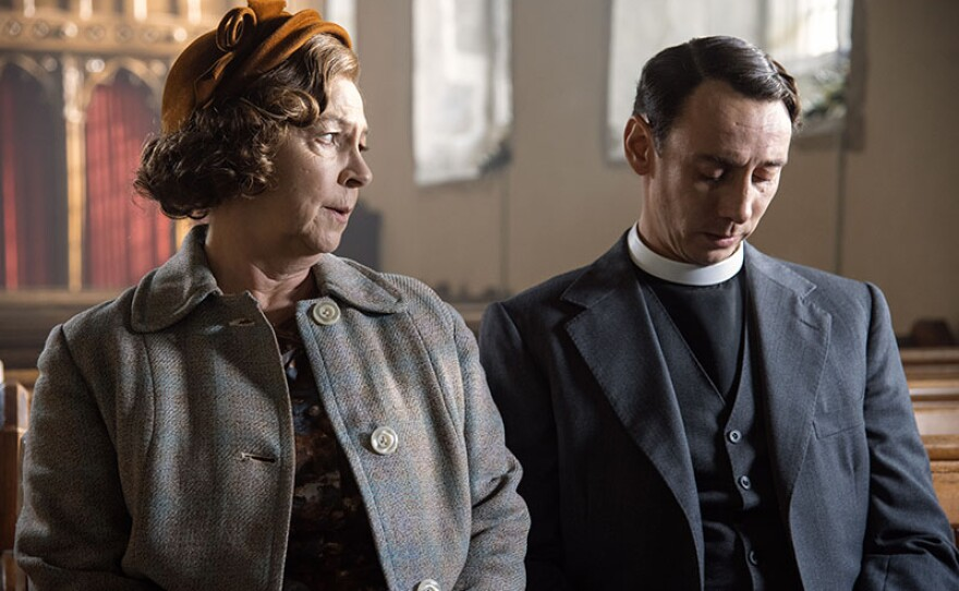 Shown from left to right: Tessa Peake-Jones as Mrs. C and Al Weaver as Leonard.
