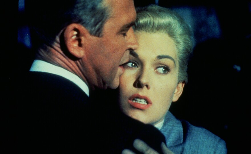"""James Stewart plays a man obsessed with a mysterious woman played by Kim Novak in Alfred Hitchcock's """"Vertigo."""""""
