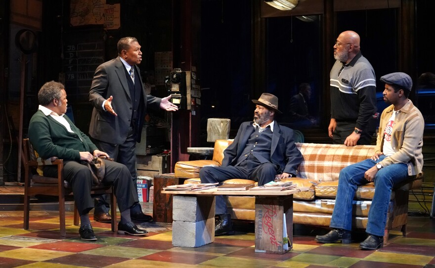 """Ray Anthony Thomas as Turnbo, Steven Anthony Jones as Becker, Anthony Chisholm as Fielding, Keith Randolph Smith as Doub and Amari Cheatom as Youngblood in August Wilson's """"Jitney"""" running through Feb. 23 at The Old Globe."""