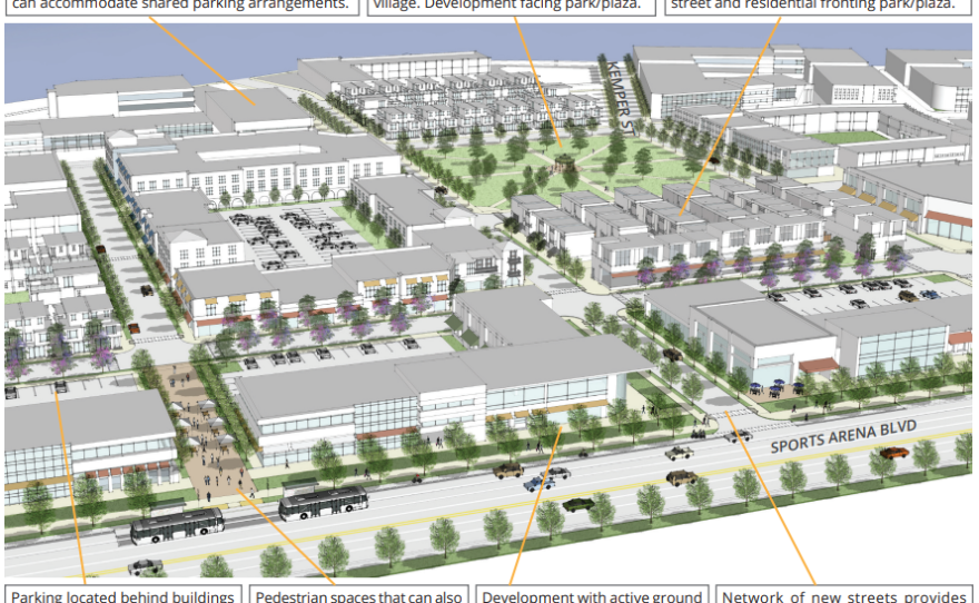 Conceptual renderings included in the Midway/Pacific Highway Community Plan update show a mixed-use village on land that currently houses the Valley View Casino Center.