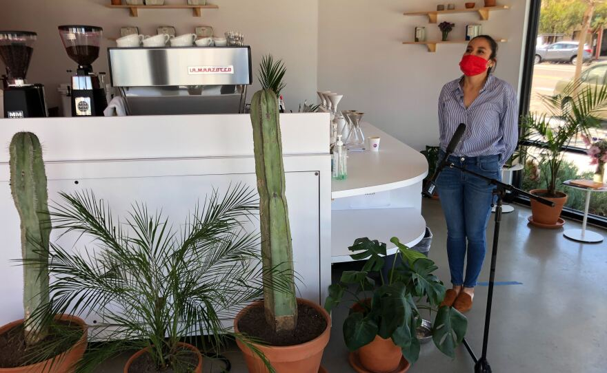 Marlyn Gonzalez stands in GEM Coffee, the shop she opened during the coronavirus pandemic, on May 21st, 2020.