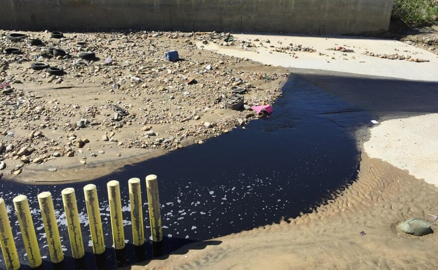 Polluted water flowing out of Goat Canyon into the Tijuana River Valley near the U.S.– Mexico border, March 2, 2017.