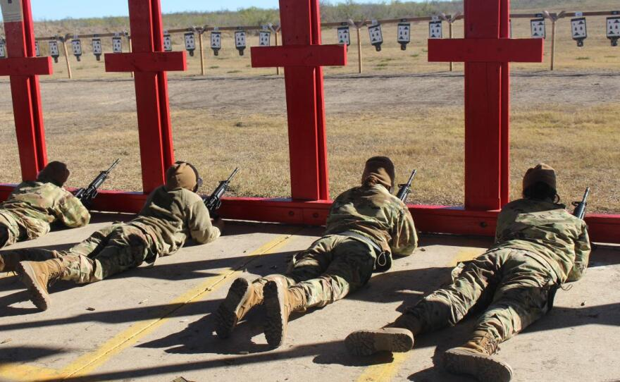 Air Force trainees use M-16 rifles at a Joint Base San Antonio range as part of their weapons familiarization in this undated photo.