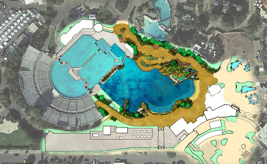 The site plan for the expansion of SeaWorld San Diego's killer whale habitat.