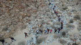 Volunteers leave water in the desert near Ocotillo, Dec. 17, 2016.