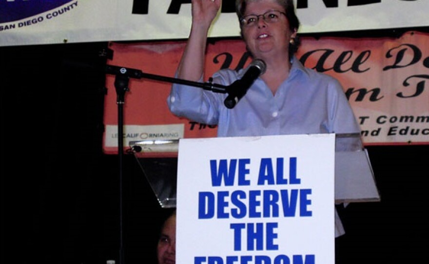 Christine Kehoe speaking at a marriage equality rally at the San Diego LGBT Community Center in Hillcrest, circa 2008.