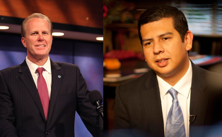 City Councilmen Kevin Faulconer and David Alvarez.