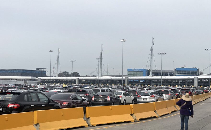 Cars wait in traffic at the San Ysidro Port of Entry in this photo taken in December, 2019.
