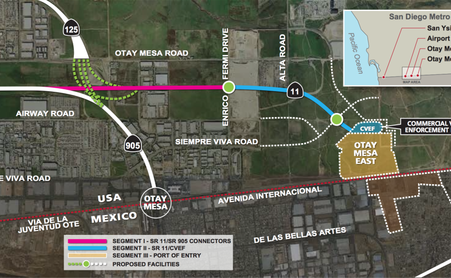 The planned Otay Mesa II Port of Entry would charge users a toll depending on the traffic at nearby border crossings.
