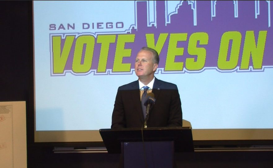 Kevin Faulconer speaks in support of Measure C at a news conference at Chargers Park, Oct. 18, 2016.