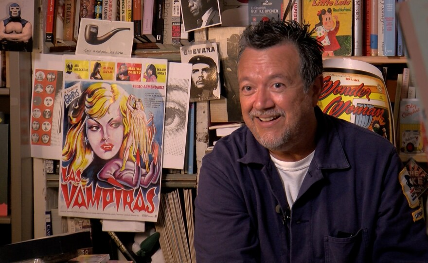 Professor William Nericcio is shown in his office at SDSU in San Diego, Calif. He uses comic books to teach students about critical thinking. Sept. 7, 2021