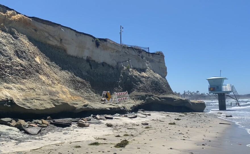 A section of the bluffs at San Elijo State Beach in Cardiff that collapsed April 28. 2021. April 29, 2021.