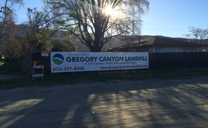 """A sign along state Route 76 reading """"Future Home - Gregory Canyon Landfill"""" is pictured in this undated photo."""