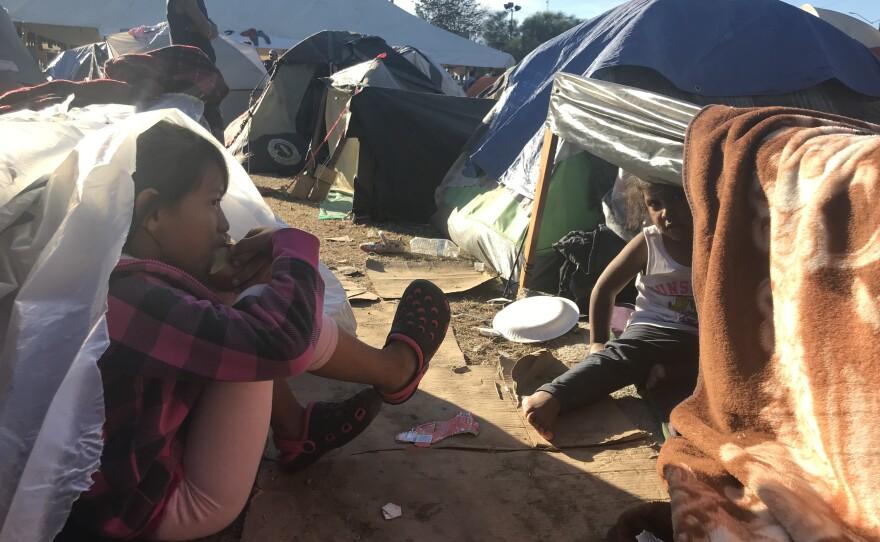 Migrant children rest at the Tijuana sports facility Benito Juarez, Nov. 27, 2018.
