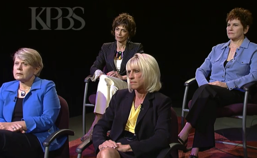 """Four prominent women in San Diego speak publicly about the unwanted sexual advances they received from former Mayor Bob Filner. Clockwise from top left: Joyce Gattas, dean of the College of Professional Studies and Fine Arts at SDSU, Patti Roscoe, a businesswoman in San Diego's tourism and hospitality industry, Sharon Bernie–Cloward, president of the San Diego Port Tenants Association and Veronica """"Ronne"""" Froman, retired U.S. Navy read admiral."""