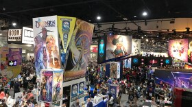 A small section of the exhibit floor at Comic-Con is shown, July 21, 2018.
