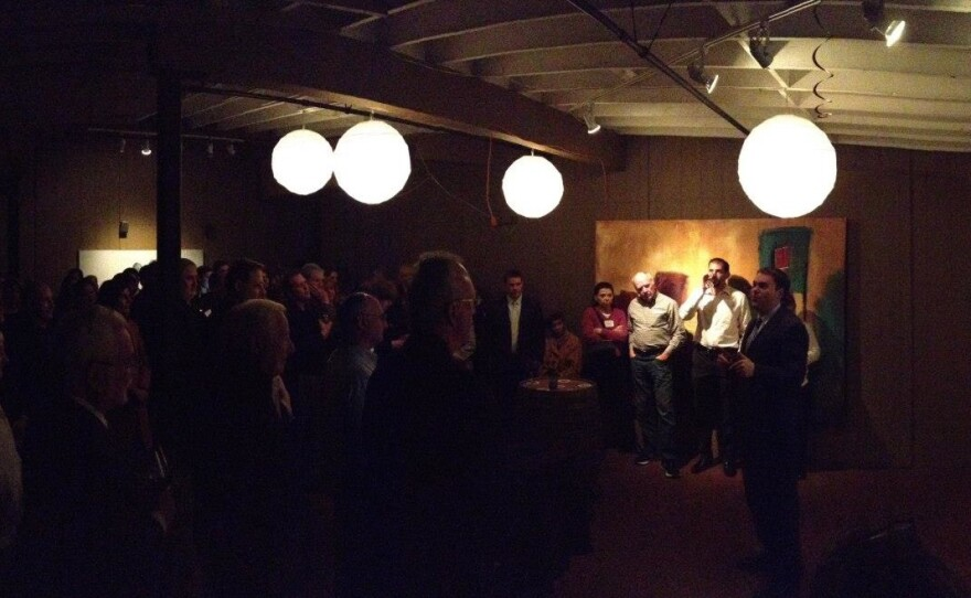 Supporters at the Fifty Seven Degrees wine bar for the relaunch of Reform San Diego in January.