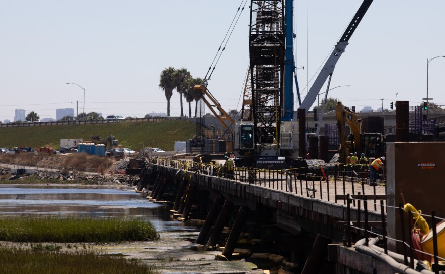 Construction work on the West Mission Bay Drive bridge is shown in this photo from Aug. 26, 2019. Money allocated through the Rebuild San Diego ballot measure is helping to fund this project.