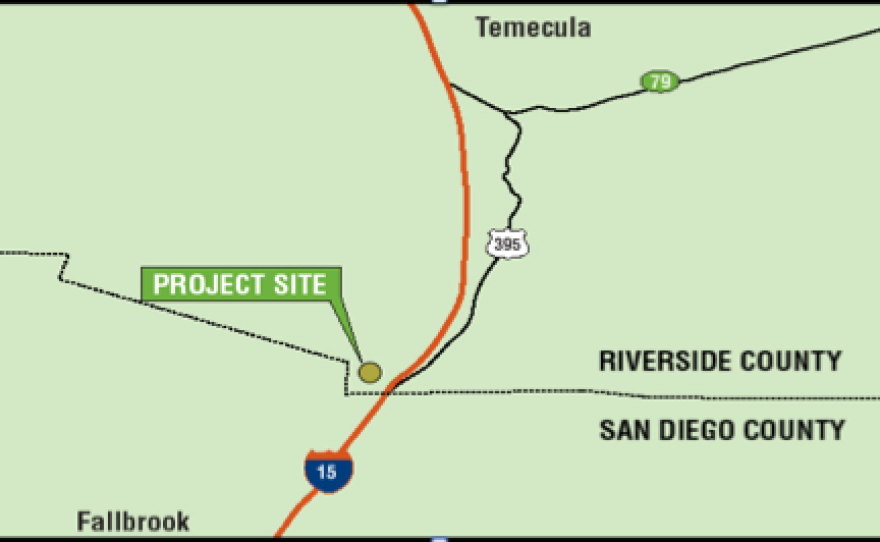The site of the proposed Liberty Quarry would be located north of San Diego, on the backside of an oak-covered mountain overlooking Temecula. This map shows the approximate location of the proposed quarry, but not its size.