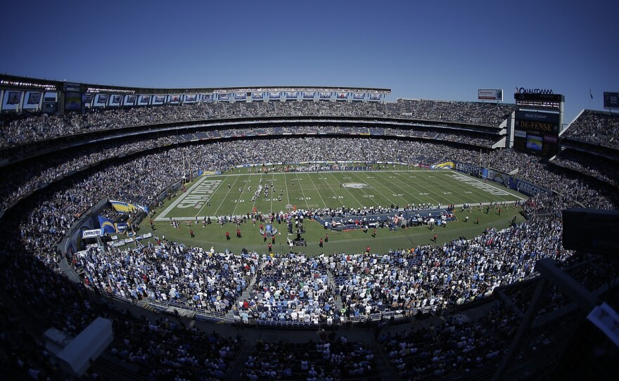 Qualcomm Stadium seen from above in this undated photo.