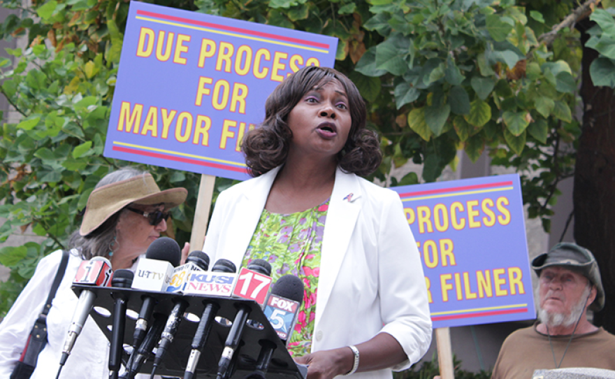 Tara Jones, the president of National Women Veterans Association of America, holds a July 24 press conference to announce Mayor Filner is no longer the group's keynote speaker at its August gala.