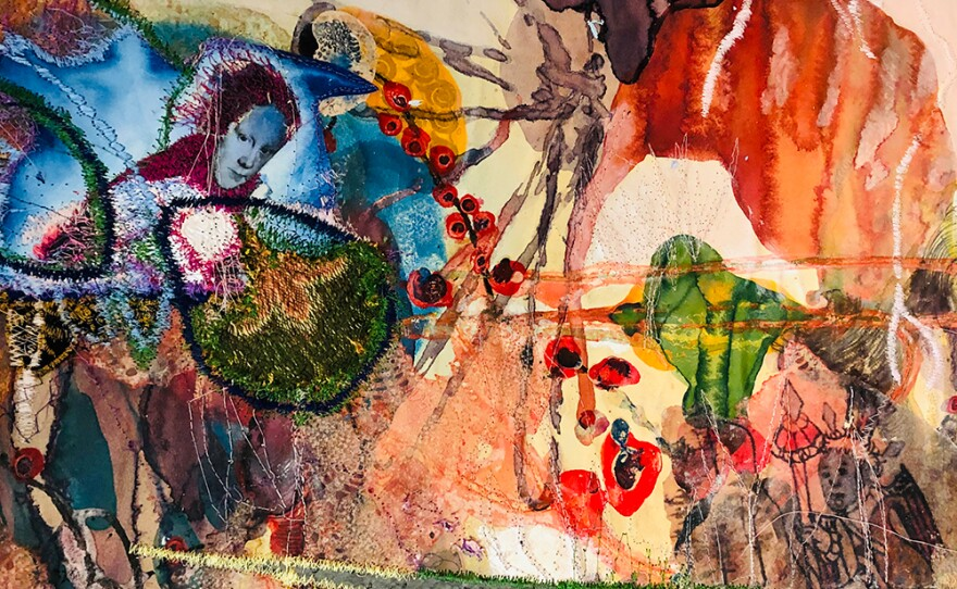 A mixed media paper and thread work by border artist Griselda Rosas