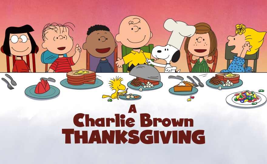 """This image released by Apple shows key art for the animated classic """"A Charlie Brown Thanksgiving"""" holiday special. Apple and PBS have teamed up for ad-free broadcasts of the special and """"A Charlie Brown Christmas."""""""