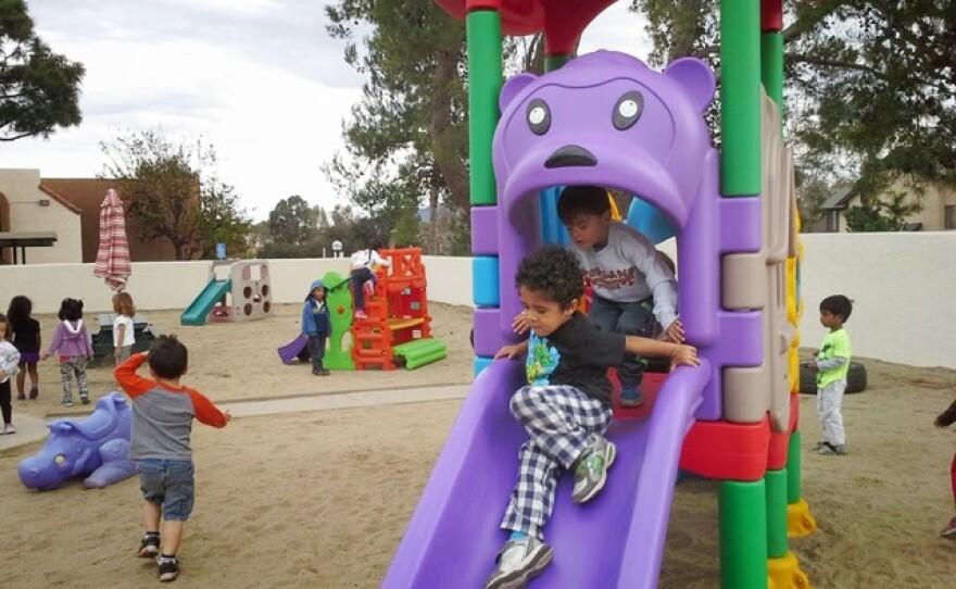 Children play at the Magic Hour Preschool in Mira Mesa, Jan. 26, 2015.