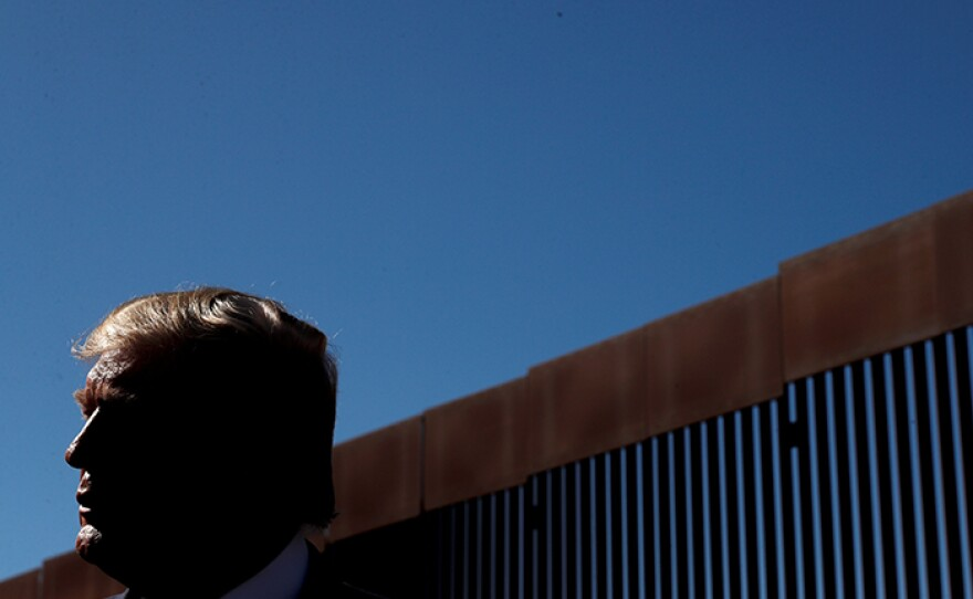 """In """"Zero Tolerance,"""" FRONTLINE examines how President Donald Trump turned immigration into a powerful political weapon that fueled division and violence. This photo is of President Donald Trump visiting the U.S.-Mexico Border in Otay Mesa, Calif., on Sept. 18, 2019."""