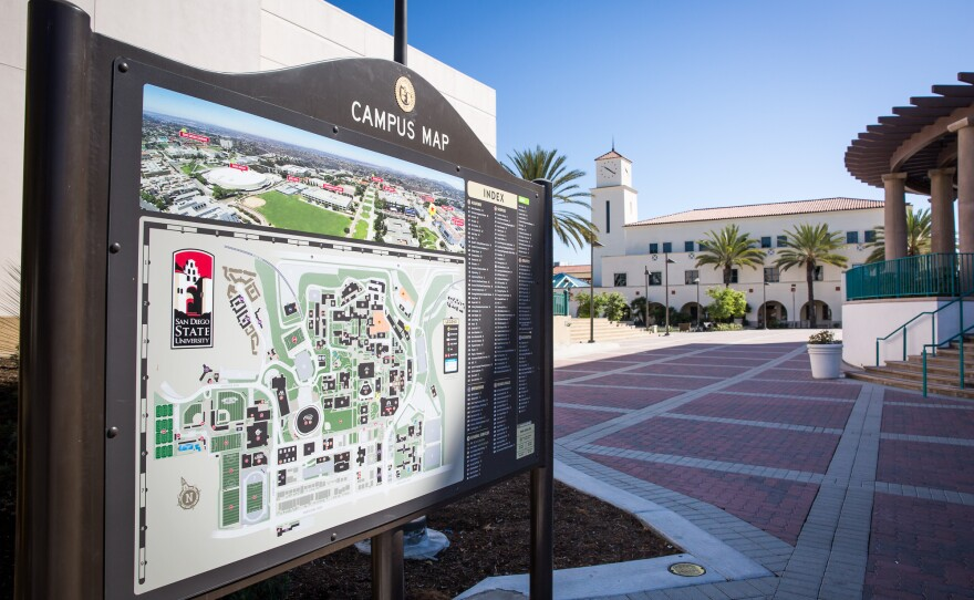 A campus map at San Diego State University, Sept. 24, 2016.