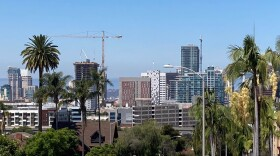A sunny sky shines over downtown San Diego on July 25, 2020.