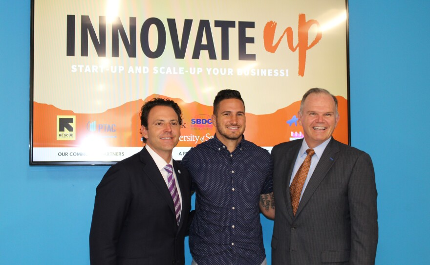Supervisor Nathan Fletcher, entrepreneur Andre Mattson and University of San Diego president James Harris at the launch of the small business accelerator program.