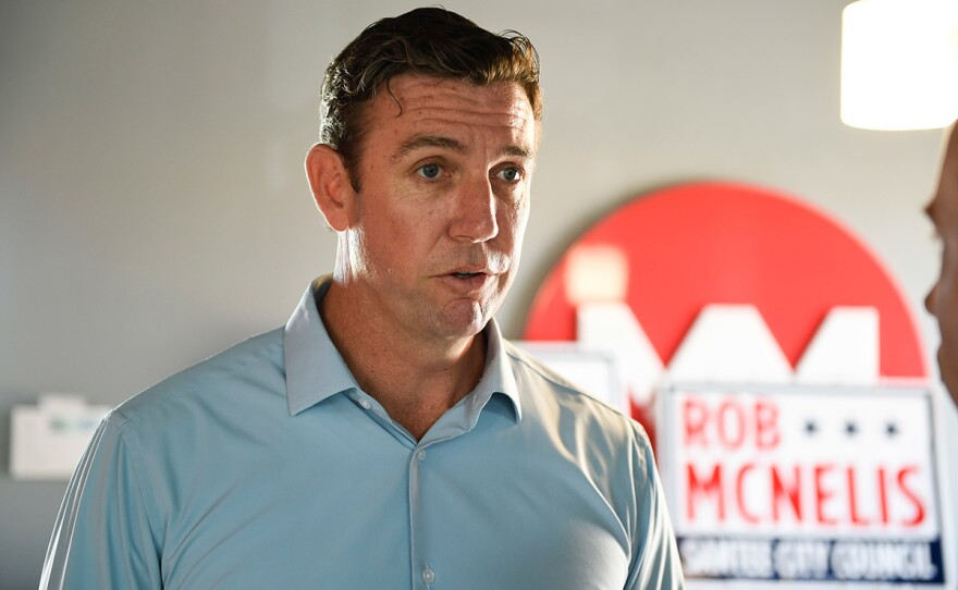 Rep. Duncan Hunter, R-Calif., speaks during an interview at a call center on Santee, Calif., Tuesday, Nov. 6, 2018.