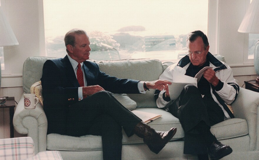 Secretary of State James Baker meets with President Bush in Kennebunkport, Maine, Aug. 11, 1992