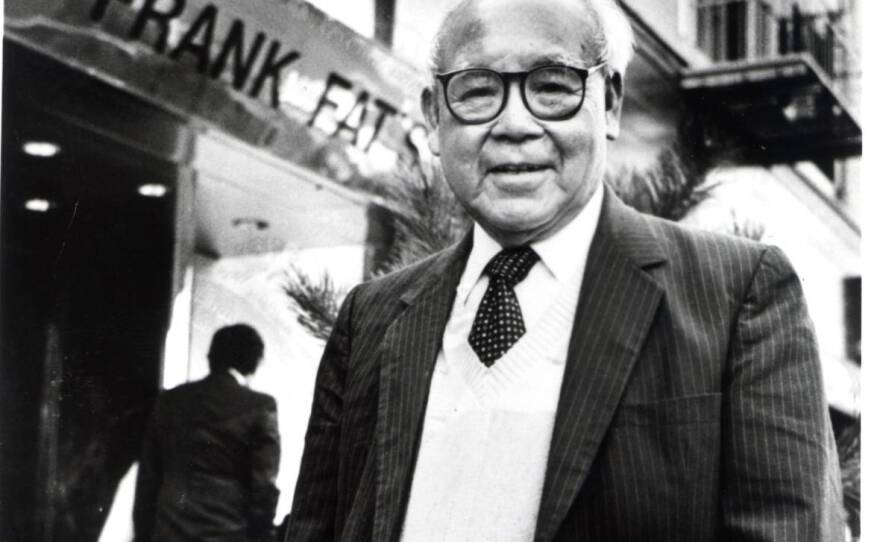 Frank Fat stands in front of his namesake restaurant in this undated photo.