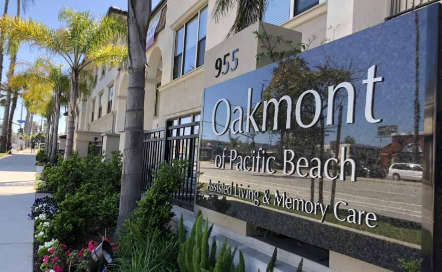 Pictured above is Oakmont of Pacific Beach where a driver said he was recruited to work as a caregiver, without any training, to two COVID-19 patients, April 15, 2020.