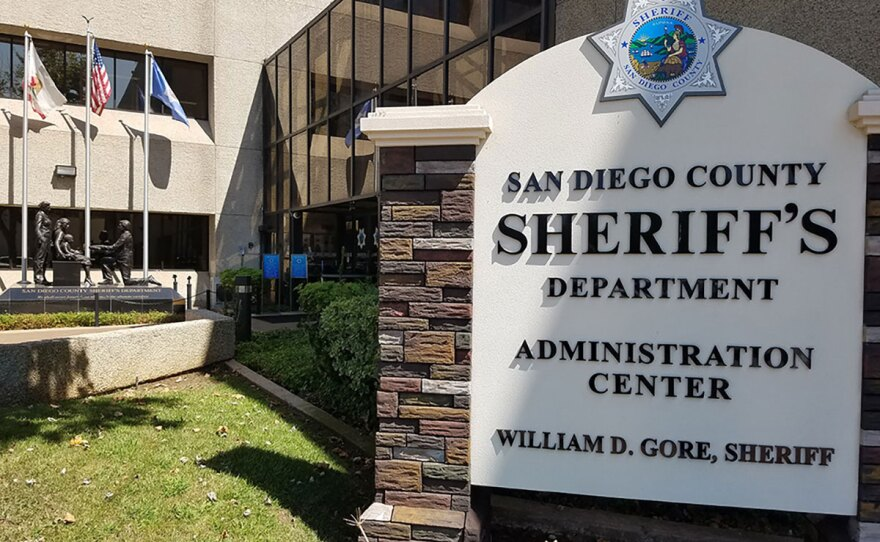 The sign in front of the San Diego County Sheriff's Department Administration Center, San Diego, August 13, 2018.