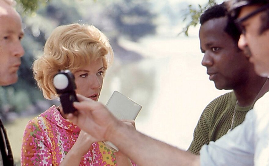 """William Greaves (far right) both directs and stars in """"Symbiopsychotaxiplasm Take One"""" (1968), a boldly experimental working in which he makes a movie about him making a movie."""